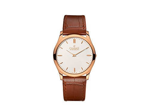 Charmex Stingray 2162 40mm Stainless Steel Case Brown Calfskin Synthetic Sapphire Men's Watch