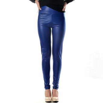 High Waist Leather Skinny Leggings Pants Tights Full Treggings (S, Blue)