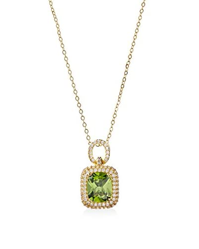 CZ by Kenneth Jay Lane Peridot Cushion CZ Pendant