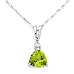 Miore - USP002P14W - Collier - Femme - Or blanc 375/1000 (9 carats) 1.15 gr - Péridot - Diamant