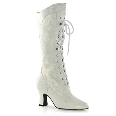 Cool White Faux Leather Lace Up High Heel Boots #015094 @ Womens Fashion BootsCombat Boots Winter ...
