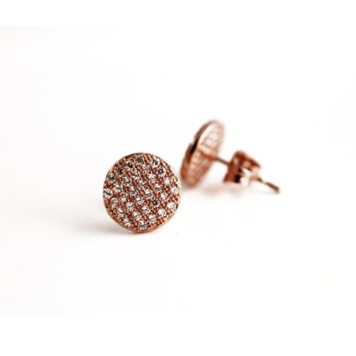 apop nyc 18k Rose Gold Vermeil Micro Pave CZ Stone Coin Earrings