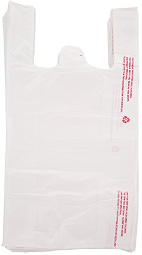 Plastic Bag - Large White T-shirt Plastic Disposable Bag 10 x 5 x 19 inches, 15 MIC -800 Count