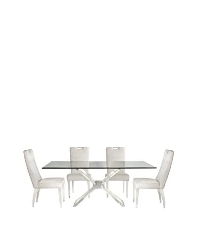 Bassett Mirror Co Silven Dining Table, Acrylic/Nickel