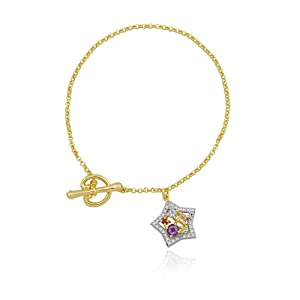 18k Yellow Gold Plated Sterling Silver Multi-Gemstone and Diamond Star Charm Bracelet, 7.25""