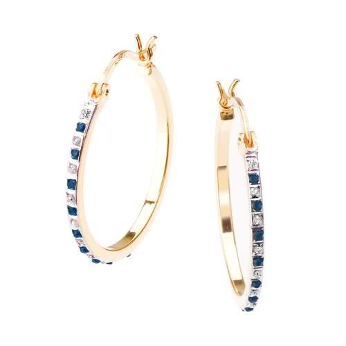 Select Diamonds and Gems 18K Gold Over Sterling Silver Diamond & Sapphire Accent Round Hoop Earrings