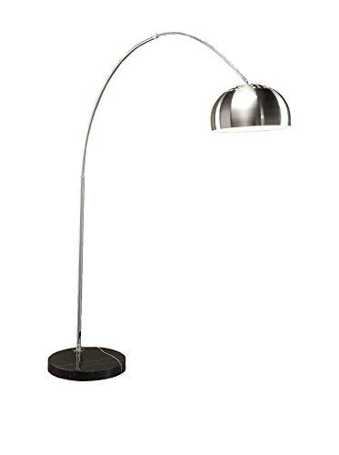 LumiSource Chrome Arch 1-Light Floor Lamp, Chrome/Black