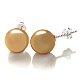 Sterling Silver 8mm Yellow Mother Pearl Stud Earrings Comes with a Gift Box and Special Pouch.