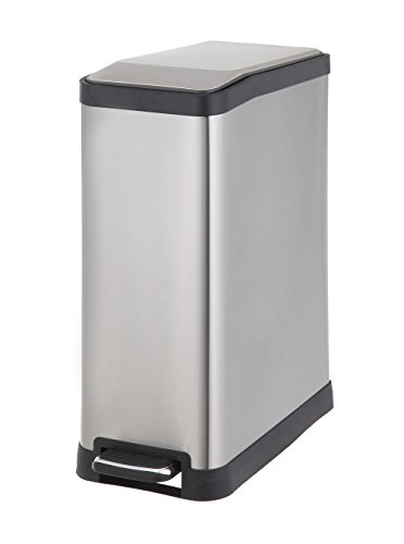 HomeZone VA41311A 45-Liter Stainless Steel Rectangular Step Trash Can (Home Trash Can compare prices)