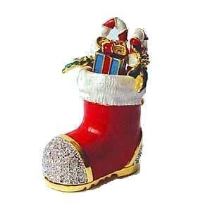 Christmas Stocking Box Swarovski Crystals, Trinket, Pill Box, Santa Boot Toys Keepsake Limited Edition Collectible Figurine