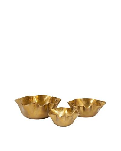 Set of 3 Gold Ava Wavy Bowls