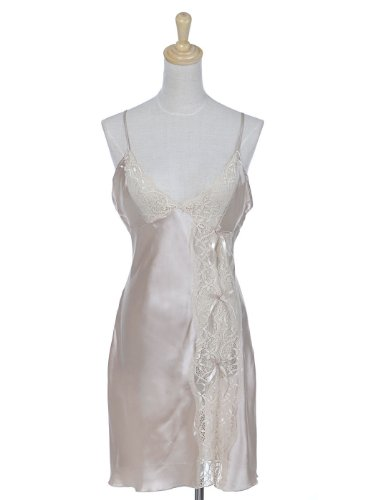 Anna-Kaci S/M Fit Champagne Kisses Beige Revealing Lace Trim Tie Back Negligee