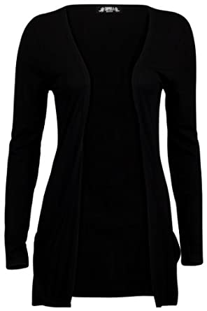 78T Womens Black Long Sleeve Ladies Drape Pocketed Boyfriend Cardigan Size 6/8
