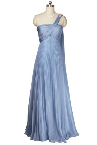 Qpid Showgirl Light Blue single strap pleated maxi dress prom ball gown 1294BL (UK12(Bust:94cm-Waist:73cm-Hip:99cm), Light blue) picture