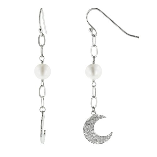 Sterling Silver White Freshwater Cultured Pearl Moon Drop Earrings