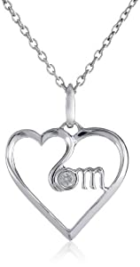 """Women's Sterling Silver """"MOM"""" Diamond Heart Pendant Necklace (0.03 cttw, I-J Color, I2-I3 Clarity), 18"""""""