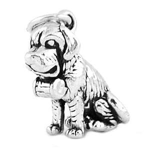 Silver 3d Saint Bernard Dog Charm