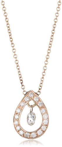 Sethi Couture White Diamond Rose Gold Pear Shape Pendant Necklace