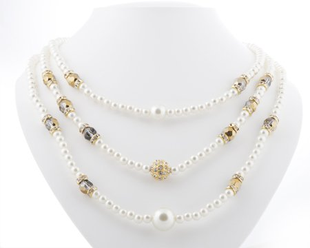 Ivory Pearl/Gold/Clear Crystal SET Necklace & Earrings
