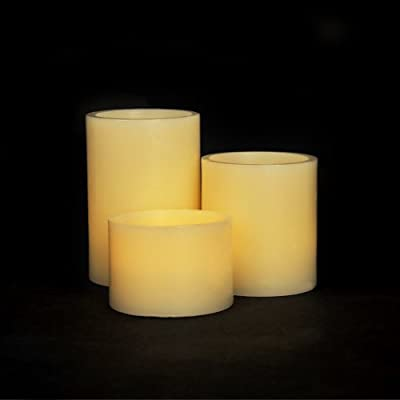 Set of 3 - Traditional Style LED Light Battery Operated Vanilla Scented Flameless Candles