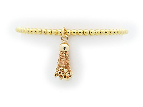[Silver Gold Plated 3 mm Beads Elastic Bracelet with Tassel] (The 3 Amigos Costume)