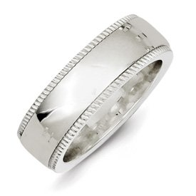 Genuine IceCarats Designer Jewelry Gift Ss 7Mm Millgrain Comfort Fit Band Size 4.50