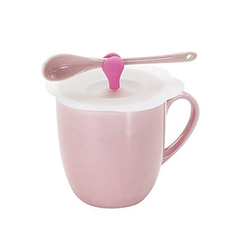 花詩カラーマグピンク シリコンカバーのふた付きマグカップ 同色スプーン付