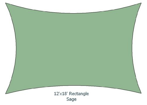 12'x18' Sage Color Rectangle Premium Quality Sun Shade Sail Made in USA