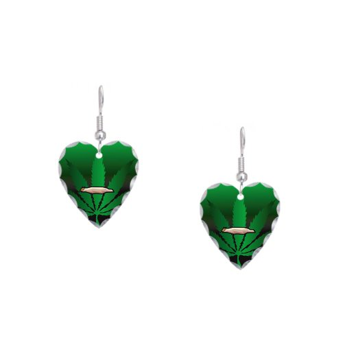 Earring Heart Charm Marijuana Joint and Leaf