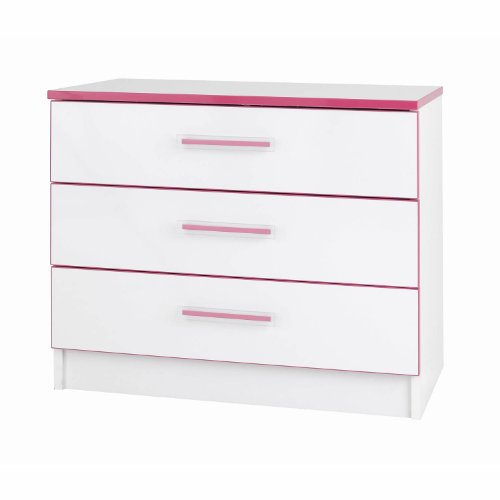 Kiddi Chest of Drawers - 3 Wide Drawers - White/Pink