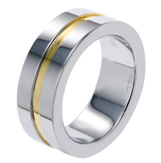 7MM Plain Polished Stainless Steel Wedding Band Ring With One Gold Plated Groove in Center