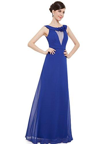 e31b51ce5f6 Ever Pretty Juniors Sleeveless Sheer Panel Long Prom Dress 6 US Sapphire  Blue
