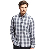 Blue Harbour Pure Cotton Marl Checked Shirt