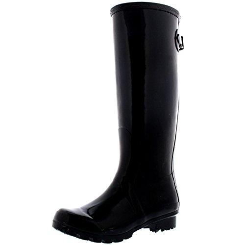 Womens Adjustable Back Tall Gloss Wellington Winter Wellies Snow Rain Boots - Black - 9 - 40 - CD0019 (Good Rain Boots compare prices)