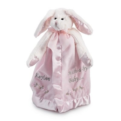 Personalized Embroidered Bunny Snuggler Blanket -Pink front-371516