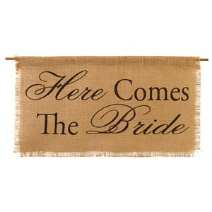 Here comes the bride burlap banner sign for wedding flower girl aisle runner by BACKDROP OUTLET
