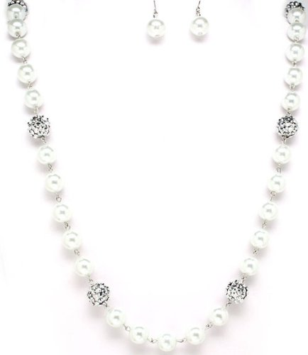 CLEARANCE - White Pearl & Crystal Stud Ball Earrings Necklace Set