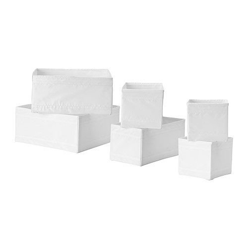 IKEA-6-er-Set-Aufbewahrungsboxen-Skubb-sechs-Kisten-Regaleinstze-je-2-Stck-in-3-versch-Gren-WEISS
