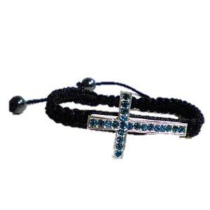 Blue Crystal Cross Black Shamballa Macrame Bracelet Women's Men's Jewelry