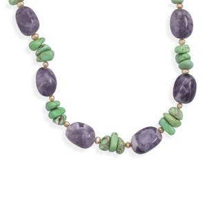 Amethyst, Turquoise Magnesite, Tan Pearl Multistone Necklace Sterling Silver Adjustable Length