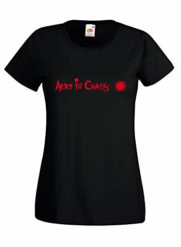 T-shirt Donna Alice in Chains - Maglietta rock band 100% cotone LaMAGLIERIA, S, Nero
