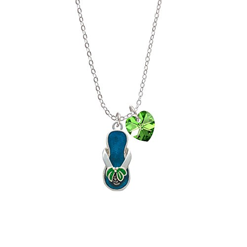 Tropical Blue Flip Flop With Palm Tree - Lime Green Crystal Heart Sophia Necklace