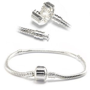 "Two Silver Plated 7.5 Inch Bracelets Plus One Matching 22"" Inch Necklace - Pandora Charms & Beads Compatible"