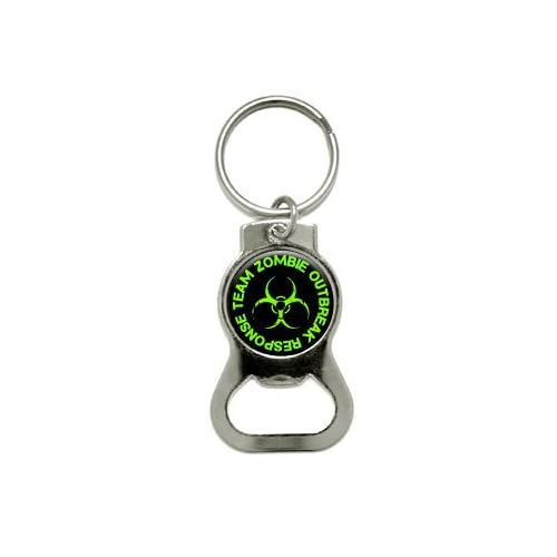 Zombie Outbreak Response Team   Green   Bottle Cap Opener Keychain Ring