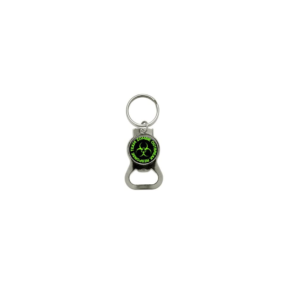Zombie Outbreak Response Team   Green   Bottle Cap Opener Keychain Ring