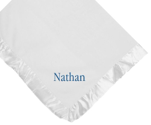 Custom Embroidered Monogrammed Boy Name White Fleece Personalized Baby Blanket Yellow Thread front-775355