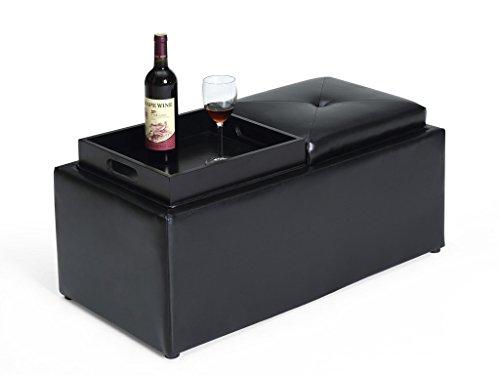 Hodedah Storage Ottoman with Flip Over Tray, Medium, Black PVC