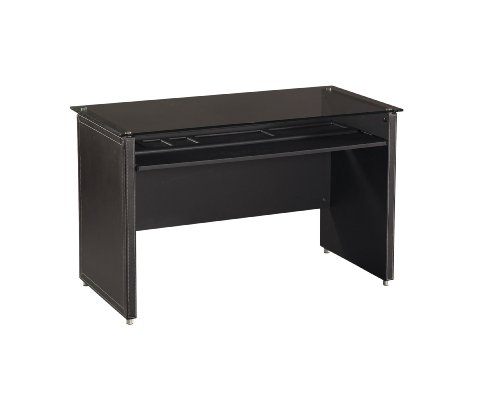 Buy Low Price Comfortable OSP Designs Infinity Computer Desk In Black with Faux Leather with Glass Desk Top (B00292BQYQ)