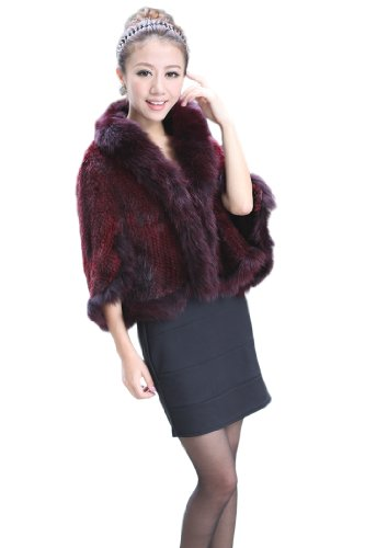 Queenshiny Women's Knitted Mink Fur Cape With Fox Collar-Wine Red-XS(0-2)