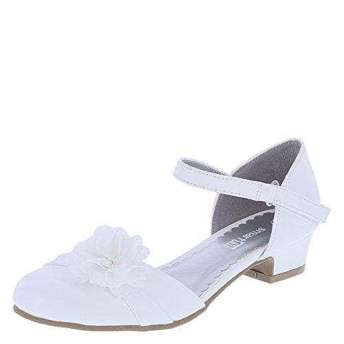 SmartFit Girls' White Girls' Cici Chiffon Flower Dress Shoe 1.5 Regular (Flower Girl Shoes White compare prices)